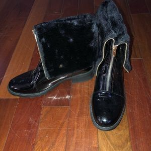 Shoedazzle Boots with Faux Fur Cuff